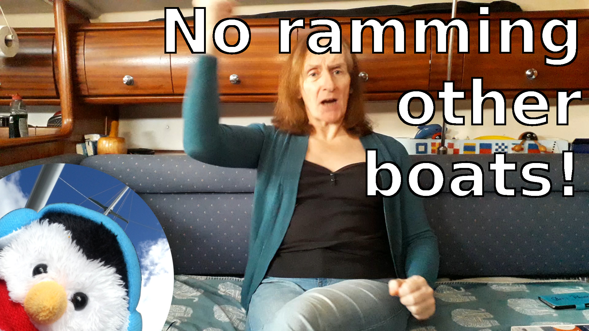 "Watch our ""No ramming other boats"" video and add comments etc"